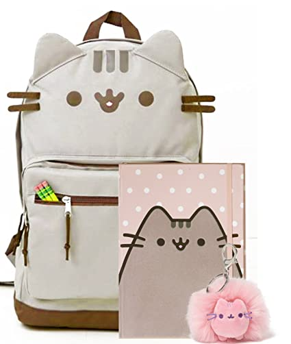 Amazon.com: Pusheen The Cat Back To School Set - Pusheen Cat Face Backpack, Pusheen Polka Dot Notebook And Pusheen Poof Keychain - Gift For Student: Toys & ...