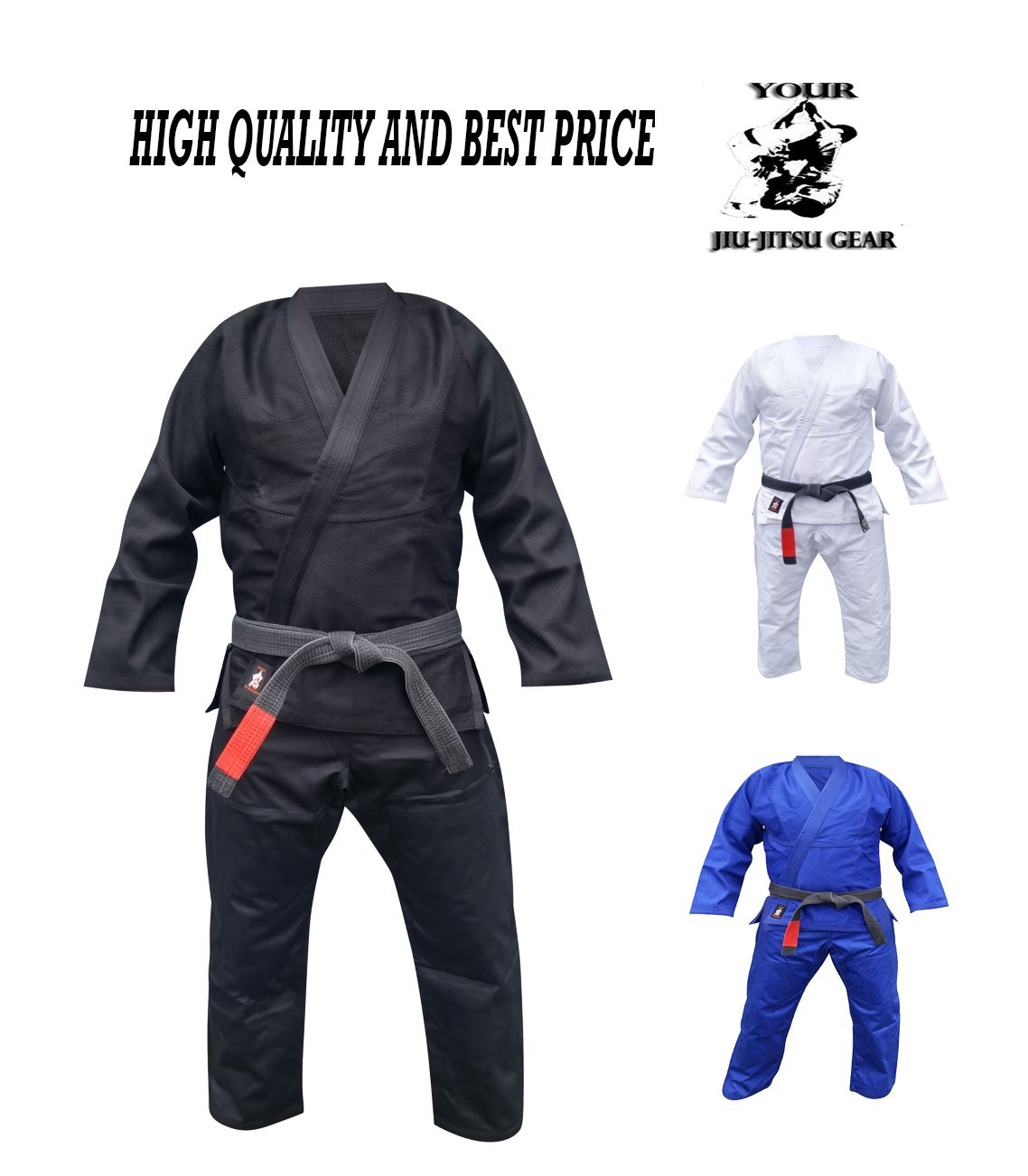 Your Jiu Jitsu Gear Brazilian Jiu Jitsu Uniform Light A1 Black Free White Belt by Your Jiu Jitsu Gear
