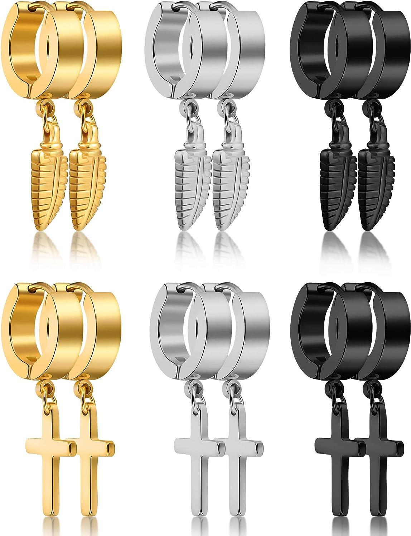 6 Pairs of Cross Earrings Dangle Hinged Hoop Earrings Feather Earrings for Men and Women Wearing