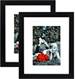 "8x10 Inch Picture Frame Black (2-pack) With GLASS FRONT COVER - Displays an 5x7"" Picture With Mat or an 8x10"" Photo WIthout Mat - Vertical or Horizontal Mounts & Easy To Hang - No Hardware to Install."