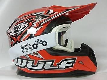 Casco rojo con gafas blancas de motocross, Enduro, Off-