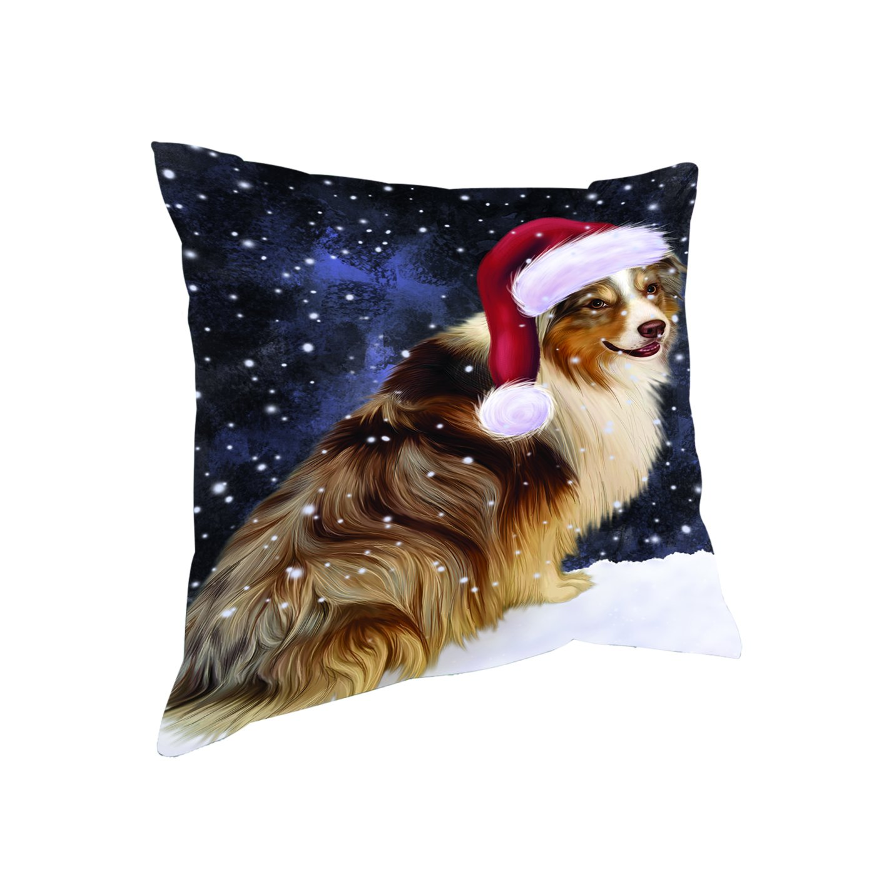 Let It Snow Christmas Holiday Australian Shepherd Dog Wearing Santa Hat Throw枕 14x14 DOTD-PIL-19878 14x14  B076B9X55H