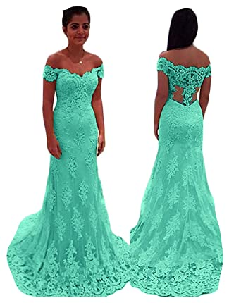 7e99fac11ae Fanciest Women s Lace Bridesmaid Dresses Long Mermaid Prom Dresses 2019  Aqua US2