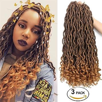 Goddess Locs Crochet Braid Hair Natural Crochet Goddess Faux Locs Hair Curly Ends Synthetic Braiding Hair Extension Ombre Blonde Havana Bohemian Twist