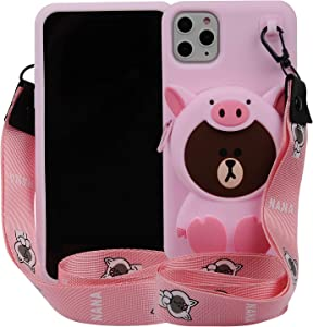 """Cartoon Case for iPhone 11 6.1"""" 2019,Phenix-Color 3D Cute Soft Silicone Animated Kawaii Protective Gel Back Cover with Pocket and Necklace for iPhone 11 6.1"""" (Pink Dinosaur, iPhone 11 6.1"""")"""