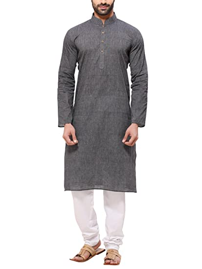 2157d5645a RG Designers Men's Handloom Gray Kurta Pyjama: Amazon.in: Clothing ...