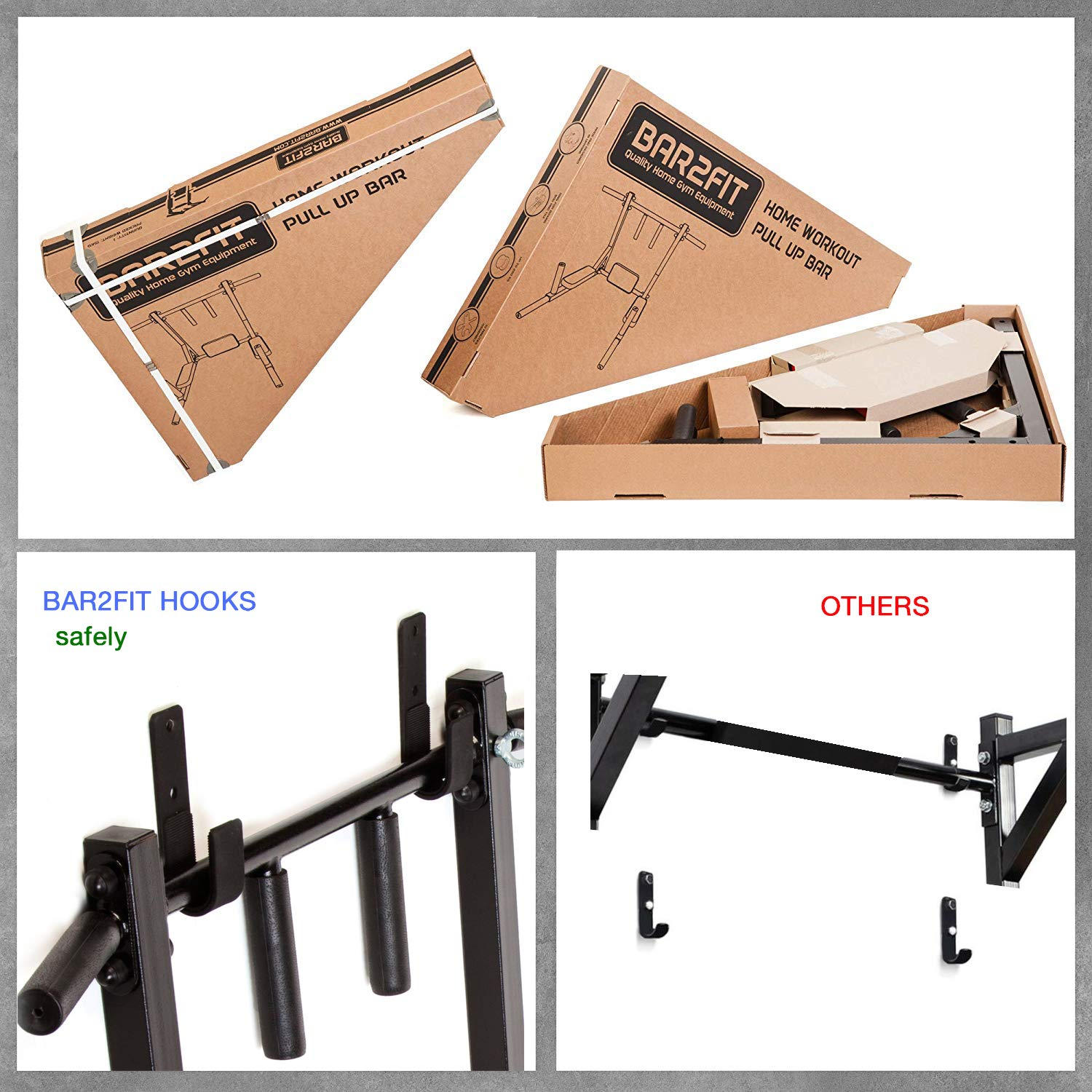 Wall Mounted Pull Up Bar - Pullup Bar Wall Mount - Chin Up Bar - Pull Up Bars and Dip Bar - Pullup and Dip Bar - Dip Station Pull Bar - Pullup Bars Outdoor and Home Room or Garage Gym Multi Grip - Pul by BAR2FIT QUALITY SPORTS EQUIPMENT (Image #5)