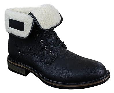 Elong Botte fourrée en Cuir en Fausse Fourrure pour Homme Couleur Noire  Marron à Lacets Style 80455bb0f18