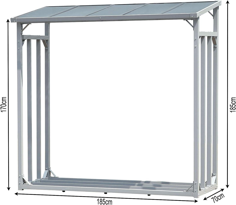 QUICK STAR Aluminio Chimenea Madera Estante XXL 185 x 70 x 185 cm ...