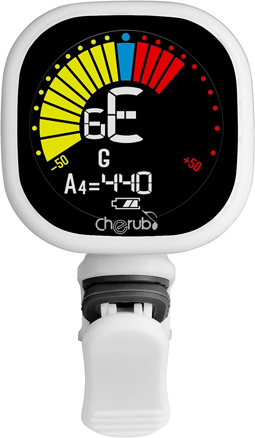 Cherub WST-675 USB Rechargeable Chromatic Tuner for Guitar Bass Ukulele Baritone with High Contrast Colorful Display