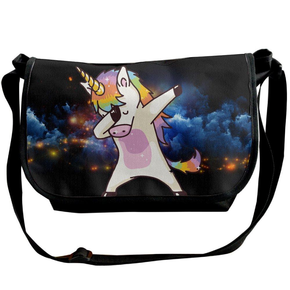 Hip Hop Unicorn Rainbow Shoulder Bag Crossbody Messenger Tote Casual Adjustable Strap Sling Postman Bags
