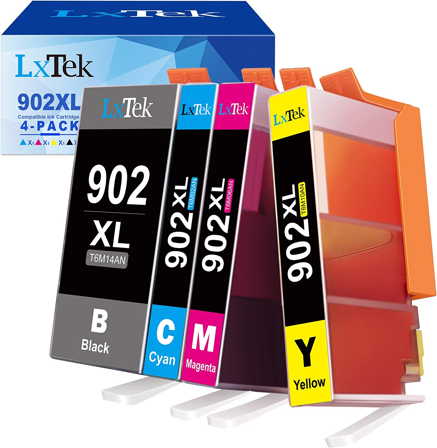 LxTek Compatible Ink Cartridge Replacement for HP 902 XL 902XL Ink Cartridge to use with Officejet Pro 6978 6968 6954 6962 Printer (4 Pack)