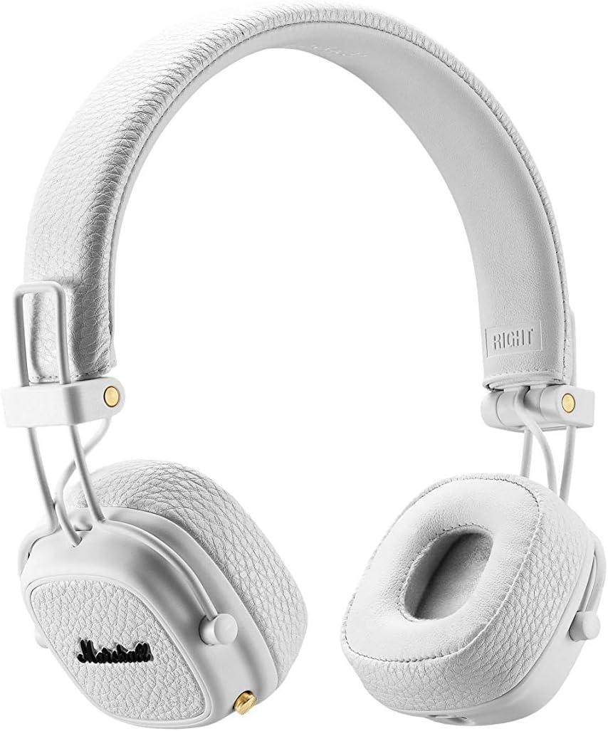 Marshall Major II - Auriculares con diadema (Bluetooth v4.0, Dynamic, conector de 3.5 mm, 98 dB, 20 Hz-20 kHz ) color blanco