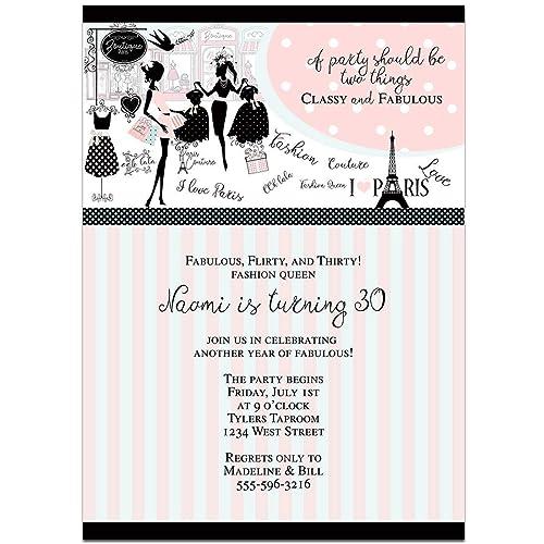 Amazon Com Paris Fashion Queen Birthday Party Invitations Handmade