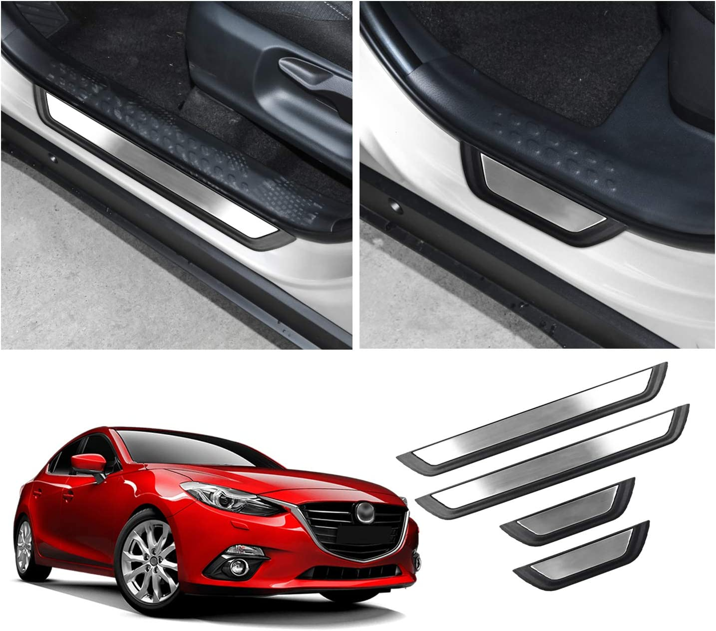 For Mazda 3 Accessories Door Sill Cover Scuff Plate Protector Guard 2014 2020