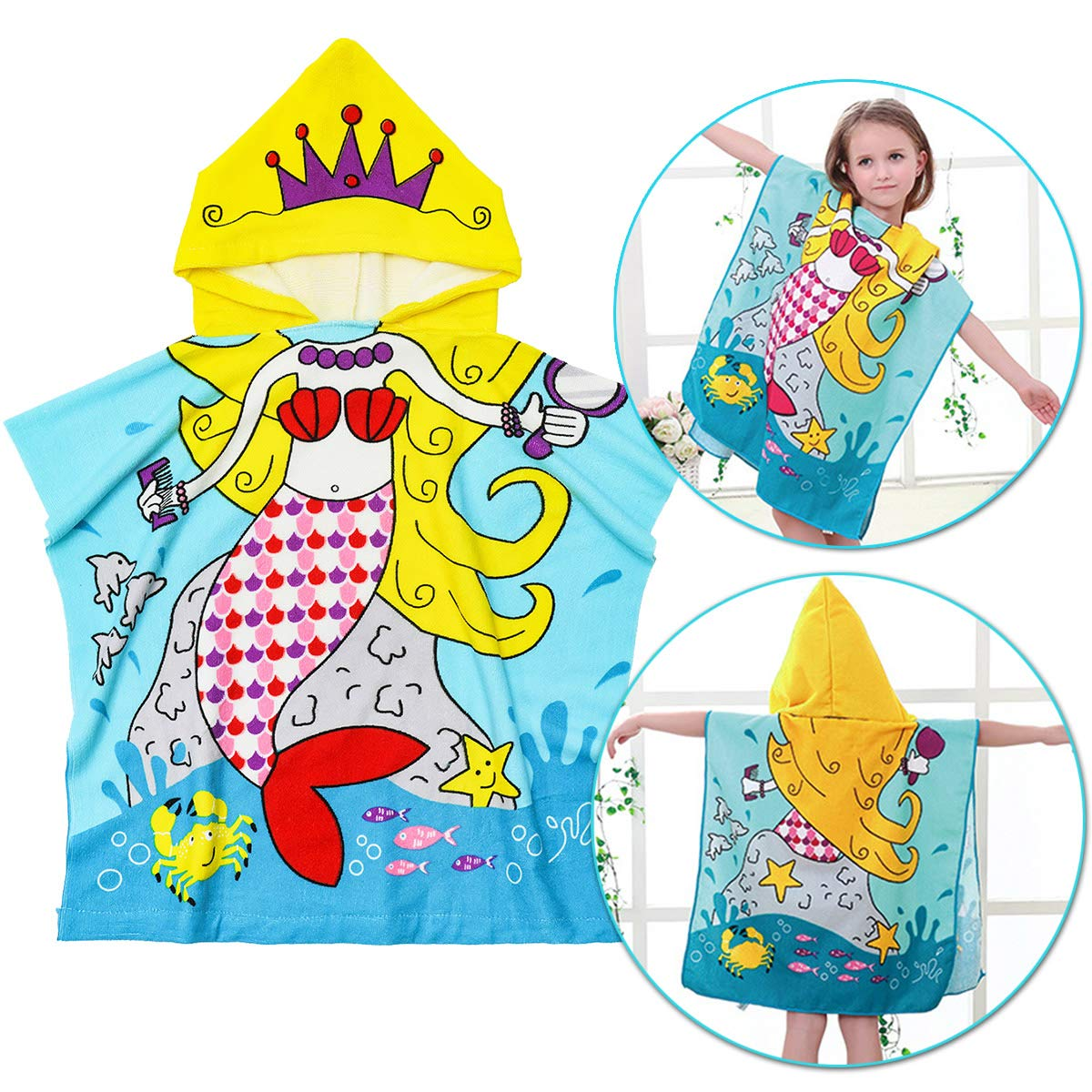 OUTERDO Kid Beach Towel Bath Hooded Towel Child Bathrobe 1 to 6 Years Old Poncho Towel Ultra Soft, Super Absorbent, Extra Large 48'' x 24'', Use for Swimming/Bath/Pool/Beach Times, Mermaid Theme Groopmoon