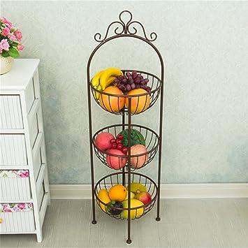 L & QQ hierro placa de frutas verduras cesta estante estante para ...