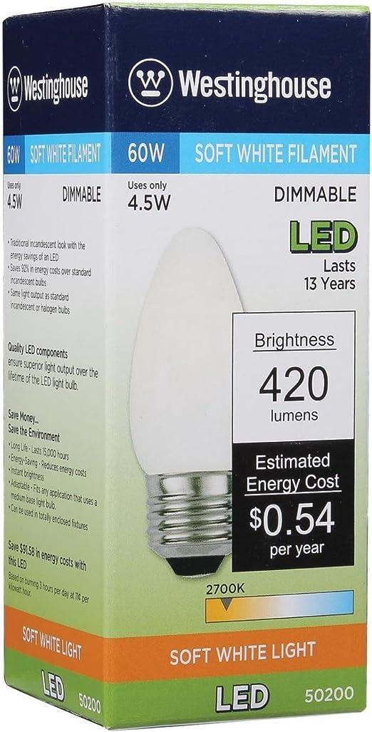 6 Pack Westinghouse Lighting 5020020 60-Watt Equivalent B11 Dimmable Soft White Filament LED Light Bulb with Medium Base