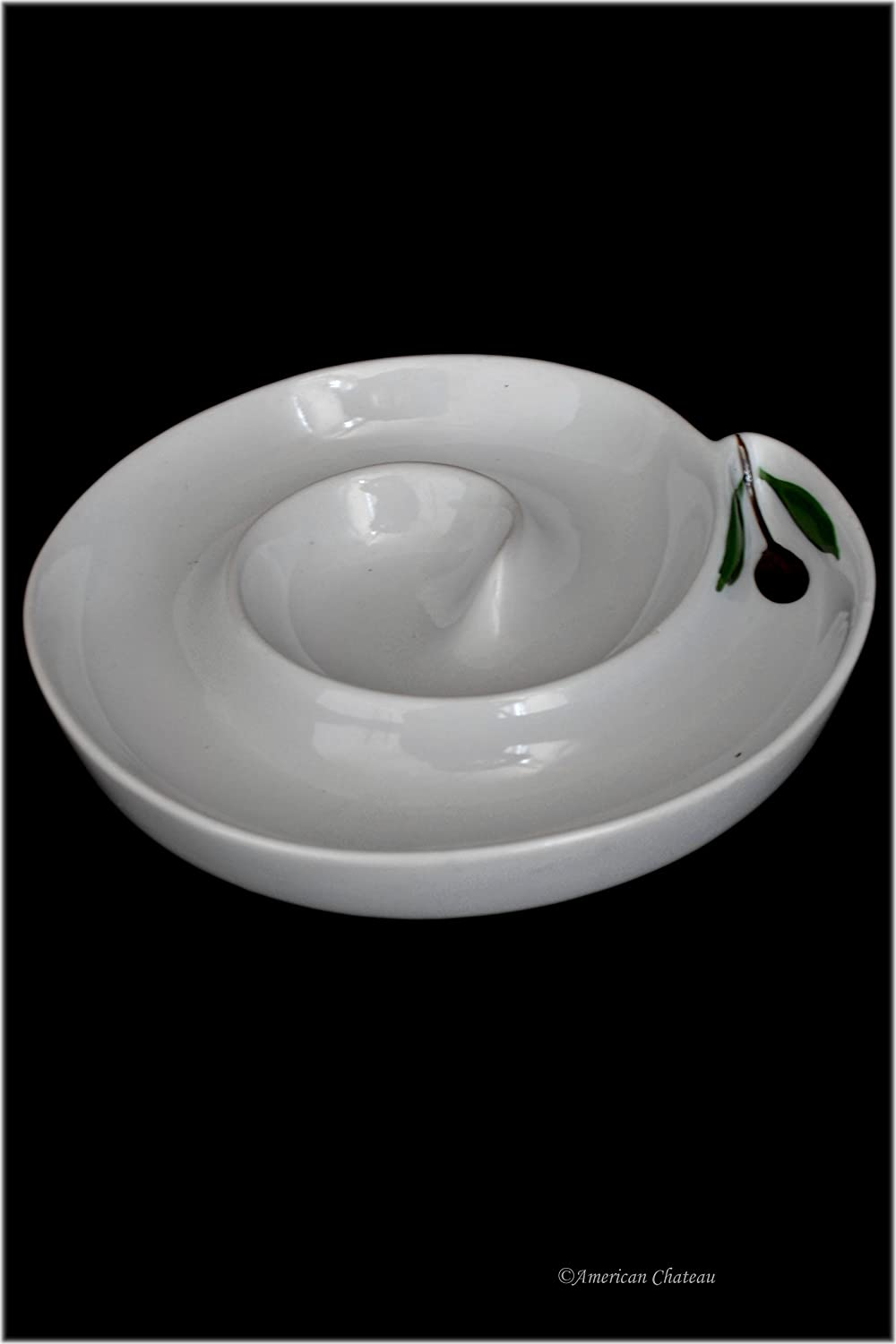 7 White Porcelain Round Olive Plate Dish Boat Dish with Olive Branch Design American Chateau