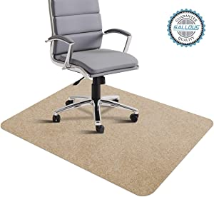 "Office Chair Mat, Hard Floor Mat for Desk, 1/6"" Thick 35""x55"" Low-Pile Desk Chair Mat for Hardwood Floors, Multi-Purpose Protector Chair Carpet for Home (Beige)"