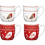 KitchenCraft Little Red Robin Christmas Espresso Cup Set (4 Pieces)