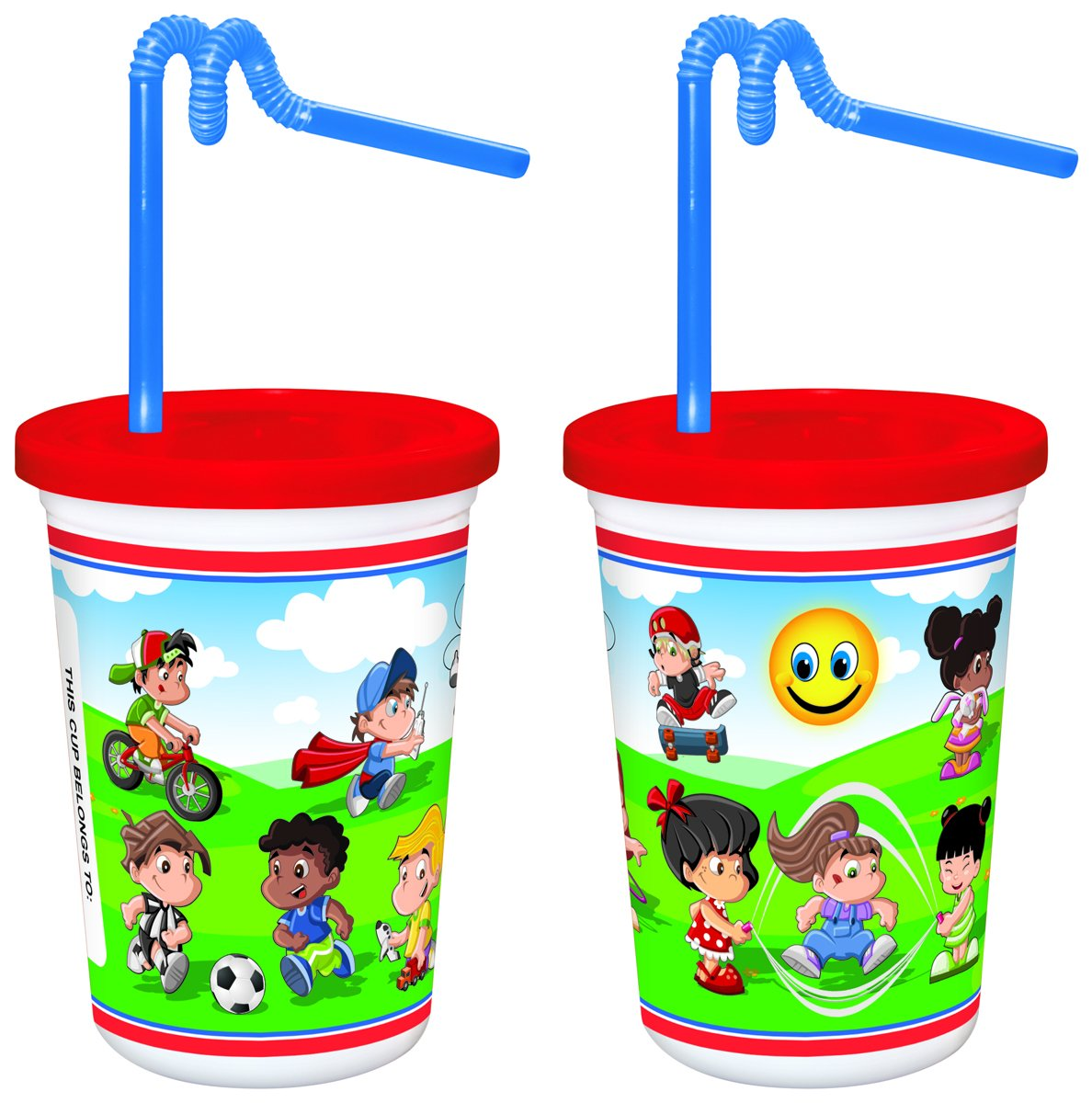 Berkley Square 12 oz. Kids Cup with Red Lid & Kurly Straw (250/Case)