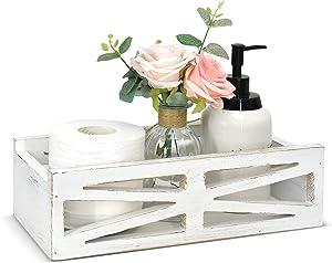 Rustic Wooden Toilet Tank Box, Farmhouse Bathroom Decor Box Toilet Paper Holder Wood Tank Box Paper Storage Basket, Wooden Home Decor Storage Box for Bathroom Countertop, Bedroom Dresser, Kitchen