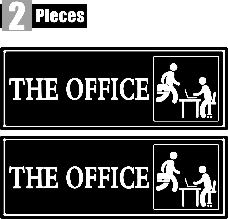 bianco e nero N\A The Office Sign Cartello autoadesivo in PVC per porta o parete con nome