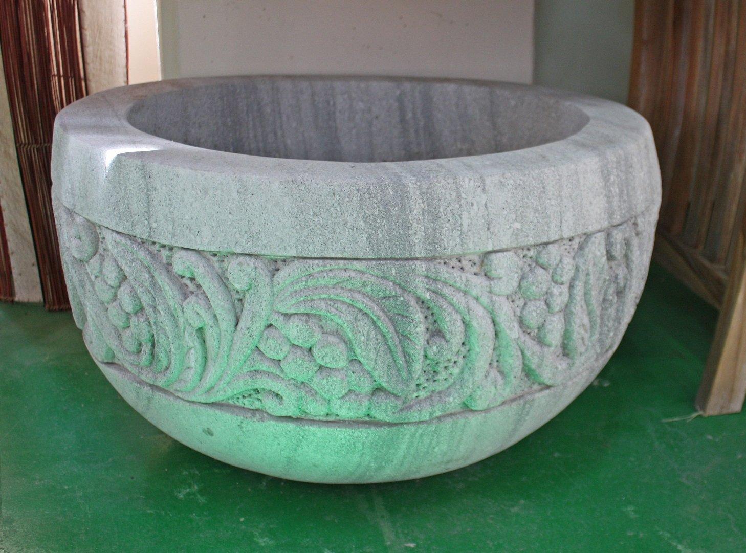 Tayasia Macetero de Piedra Tallado a Mano 60 cm: Amazon.es: Jardín