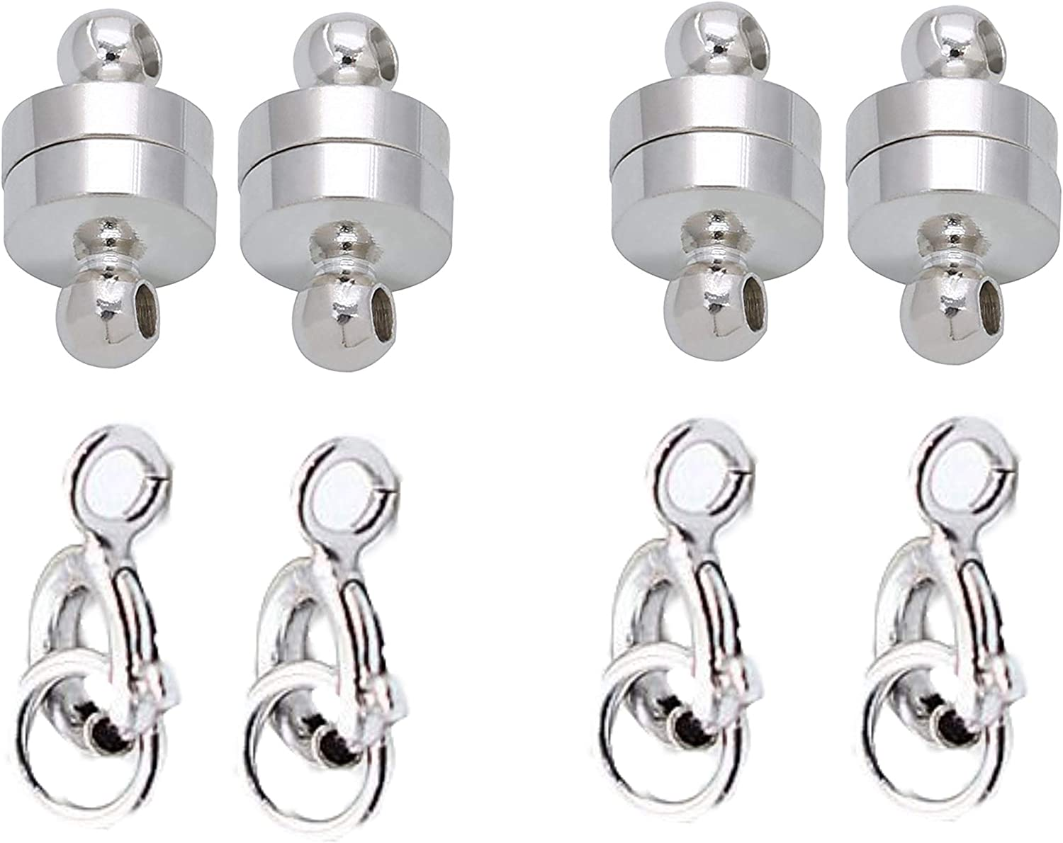 4 Pack 925 Sliver Sterling 925 Silver 4 Pack Chain Extender Jewelry Clasp Converter Sparik Enjoy Magnetic Necklace Clasps and Closures