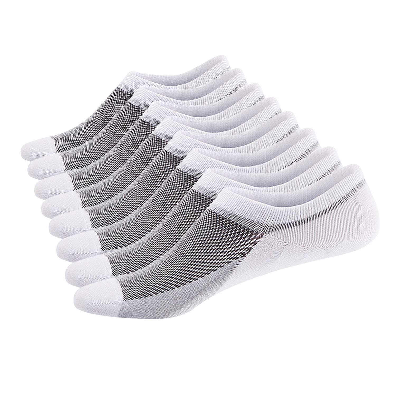 SIXDAYSOX Men's No Show Socks Cotton Non Slip Low Cut Invisible Socks Mesh Knit Shoe Size 6-11 Sock Size 10-13 Pack of 8 White