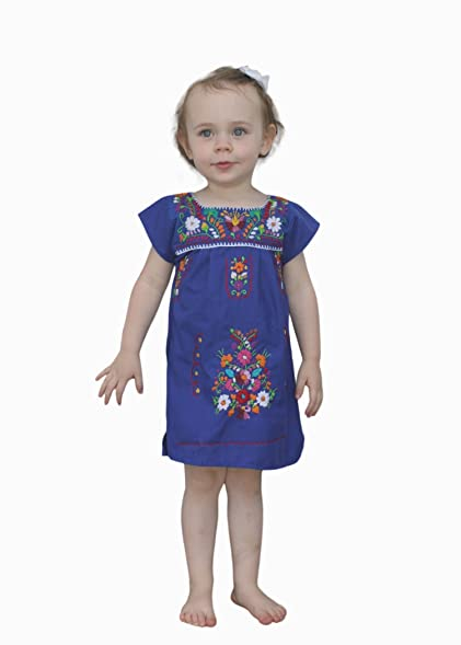 Amazon.com: Liliana Cruz Embroidered Mexican Youth Girls Dress ...