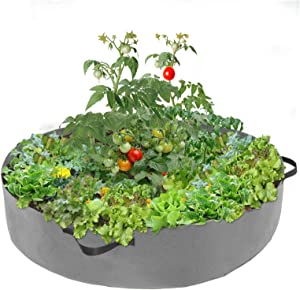 100 Gallon Round Fabric Raised Planting Bed with 4 Handles (Grey)- Thicken Non-Woven Garden Veggie Grow Bag Fabric Garden Plant Bed Planter Container for Garden Plant Vegetable Flower Herb Growing