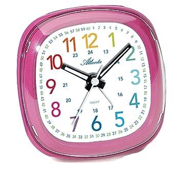 Enfants Réveil Pour Filles Pink Rose Analogique Sans Tic Tac D