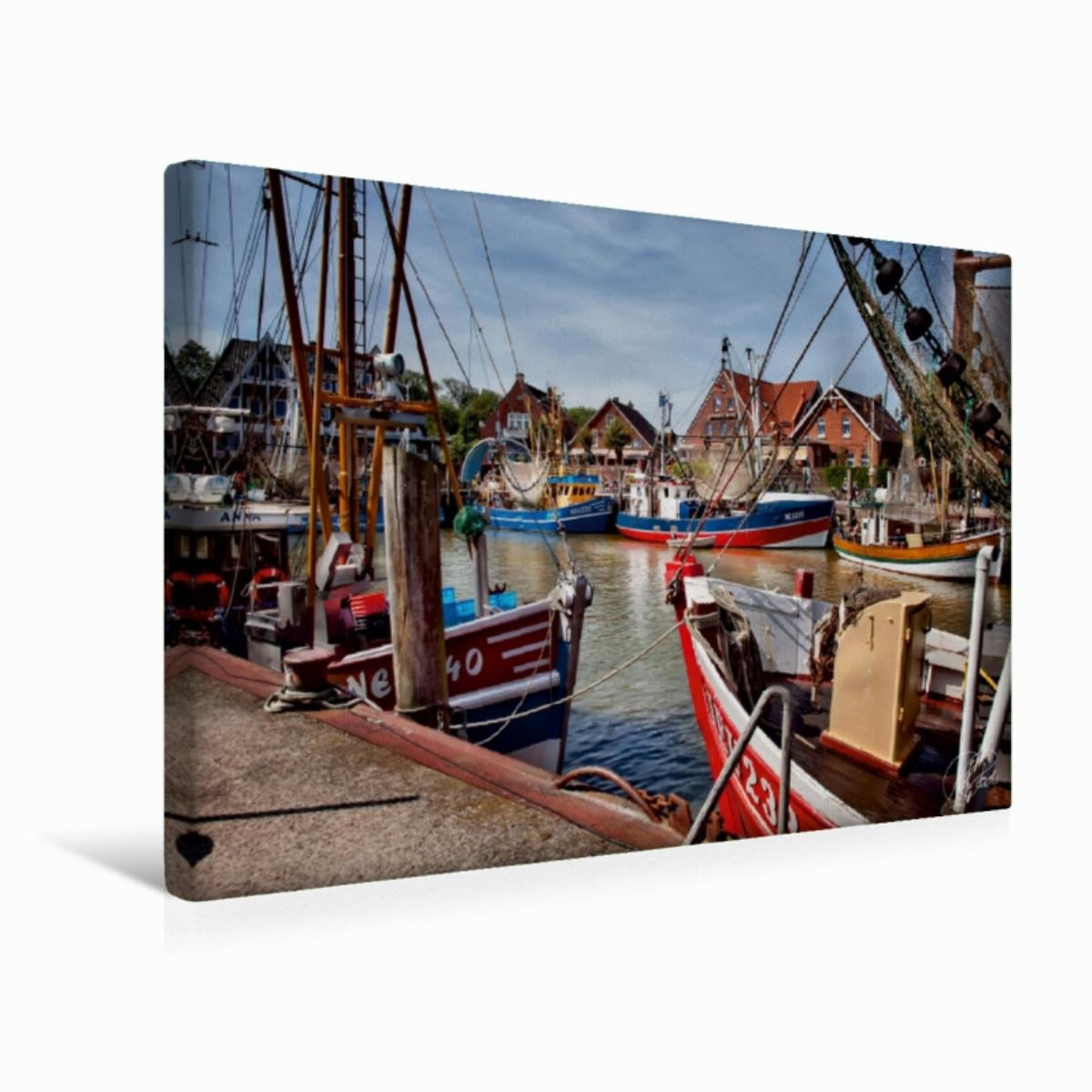 Premium Textil-Leinwand 75 cm x 50 cm quer Der alte Hafen Greetsiel