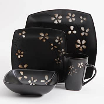 Gibson Elite 16 Piece Square Dinnerware Set Black with Tan Flowers Stoneware Dishes : gibson square dinnerware sets - pezcame.com