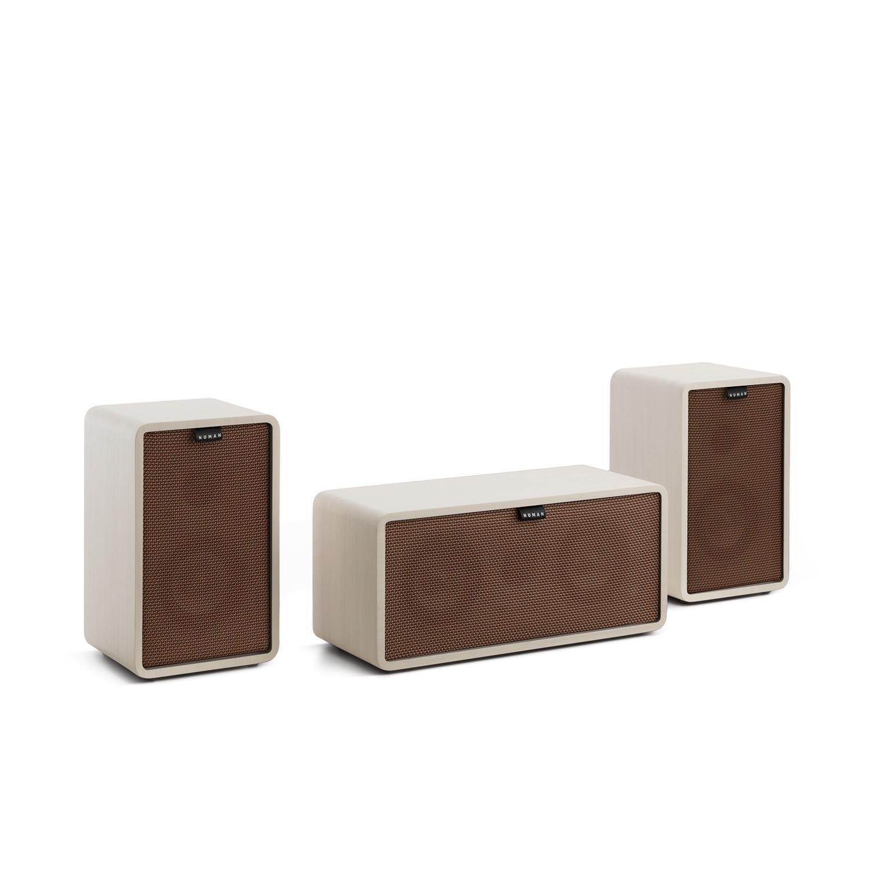 TALLA Cubierta marrón. NUMAN Retrospective 1979-S 3.0 Sistema de Sonido HiFi (300W de Potencia, diseño Retro, Altavoz Centra, Altavoces de estantería, subwoofer Incluido) - Blanco con Cover marrón