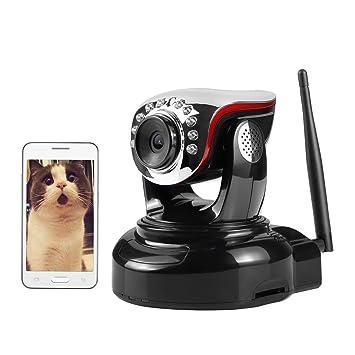 NEXGADGET Cámara IP de Seguridad Wifi Inalámbrica Interior Jack de Alarma Altavoz Micrófono Detección Movimiento IR-CUT Visión Nocturna P2P Pan Tilt ...