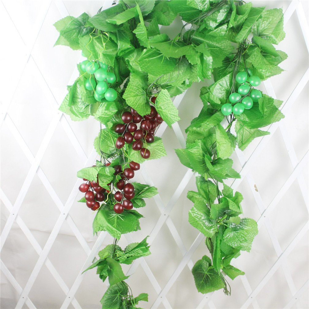 Mynse 5 Pieces 95'' Fake Fruit Vines for Home Garden Indoor Decoration Artficial Grape Cluster Vines with Leaves