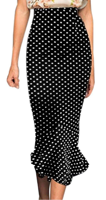 Viwenni Women's Vintage High Waist Wear To Work Bodycon Mermaid Pencil Skirt, Black, Medium
