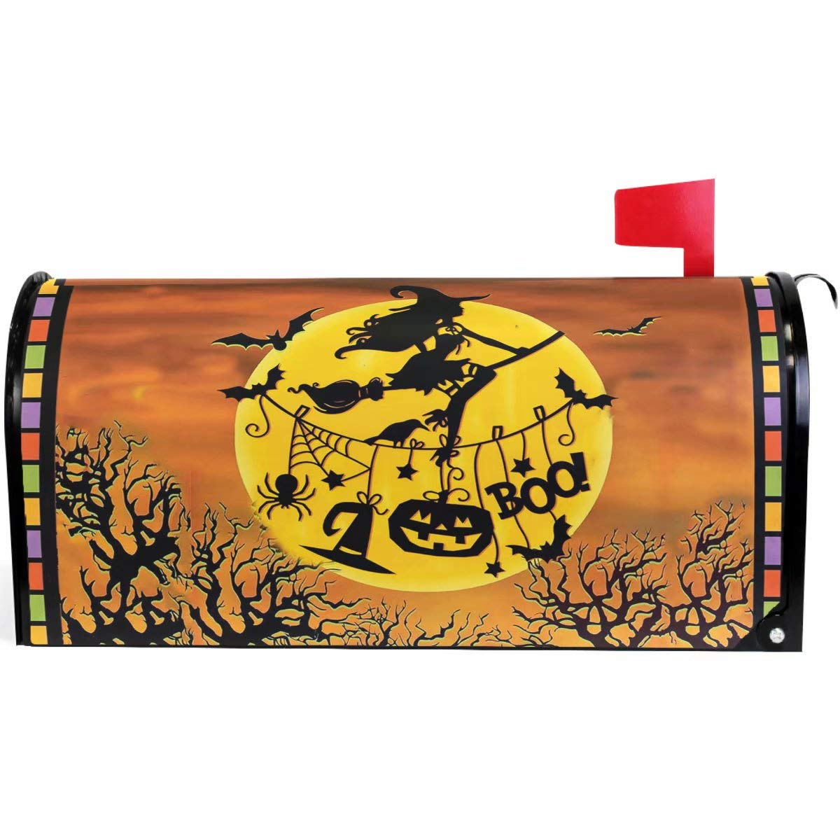"""Wamika Happy Halloween Witch Pumpkin Bat Full Moon Mailbox Cover Magnetic Oversized,Autumn Leaf Forest Castle Letter Post Box Cover Wrap Decoration Welcome Home Garden Outdoor 25.5"""" Lx 21"""" W"""