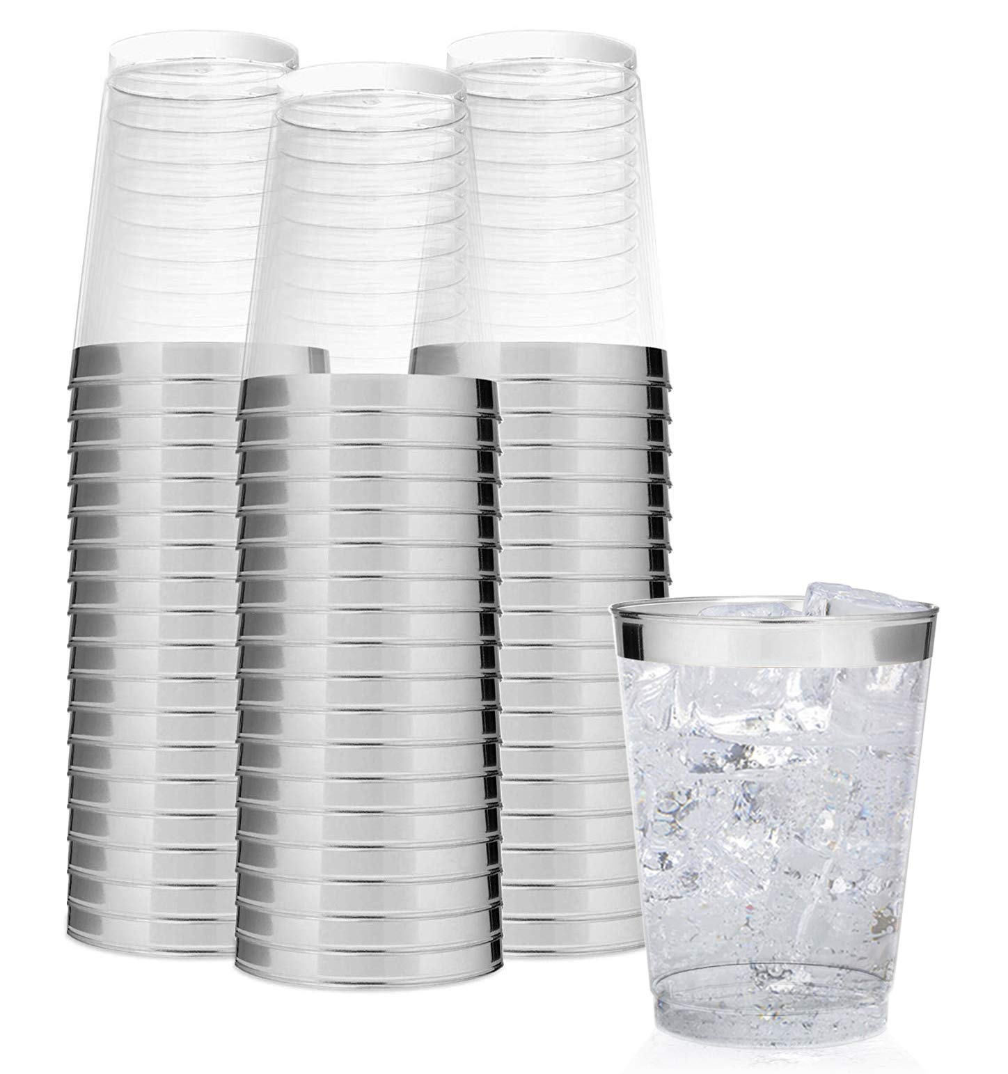 Elegant Silver Rimmed 14 Ounce Clear Plastic Tumblers Fancy Disposable Cups with Silver Rim Prefect for Holiday Party Wedding and Everyday Occasions 100 Pack