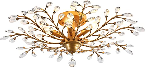 Garwarm Vintage Crystal Chandeliers Ceiling Lights Crystal Pendant Lighting Ceiling Light Fixtures Chandeliers Lighting
