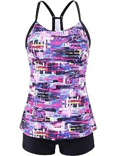 18c40674cc CharmLeaks Womens Two Piece Tankini Tribal Tummy Control Swimsuit Set Swim  Tank Top