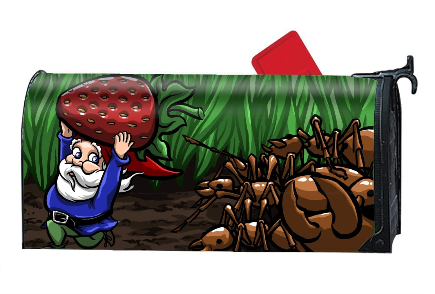 fffvv Magnetic Mailbox Cover - Humor Gnome Cute Cartoon, Decorative Mailbox Wrap for Standard Size - Welcome Home