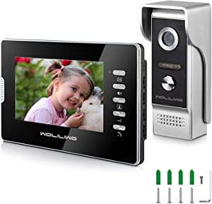 Video Doorbell 7 Inch Monitor 4-core Wired Video Doorbell Phone System and Metal Outdoor Camera Wired Video Intercom System Kit with Intercom Night Vision Waterproof for Home Office Apartment