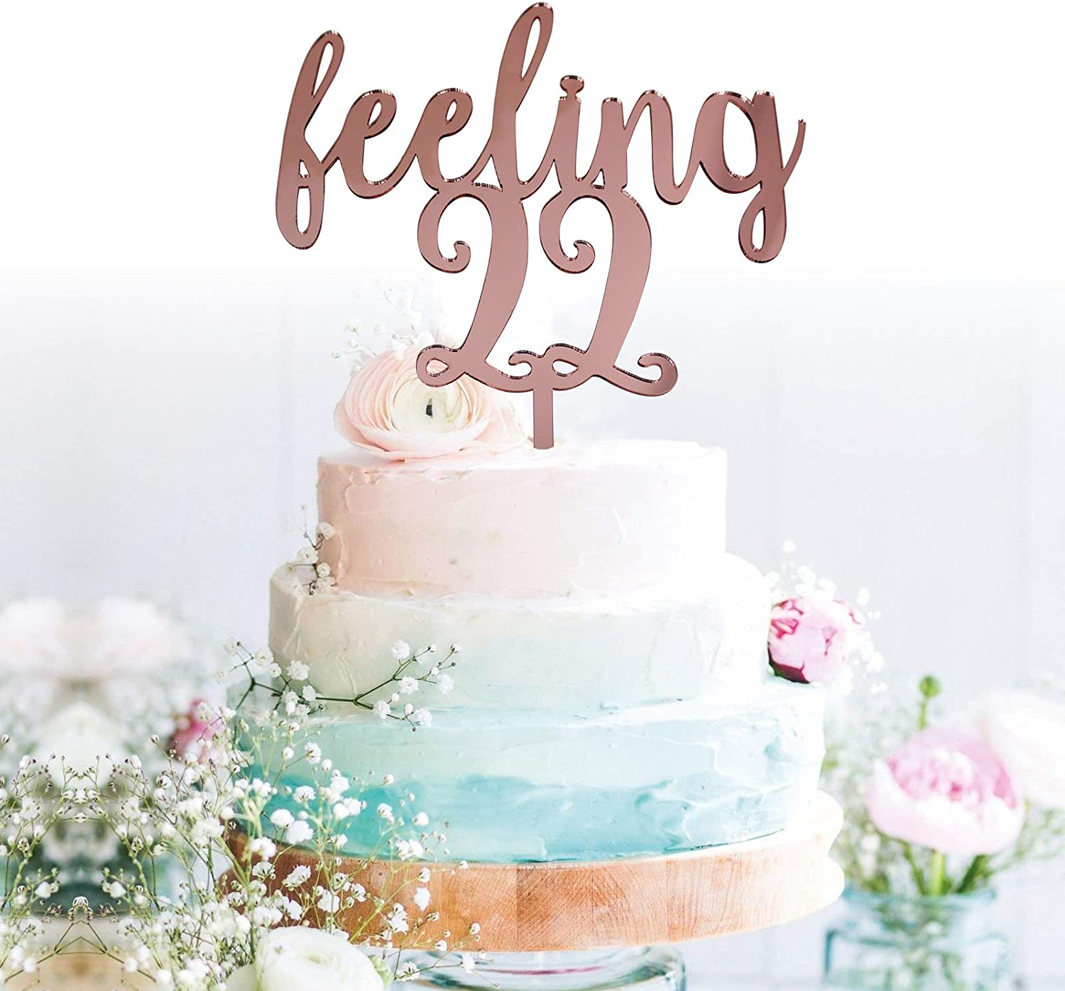 Sensational Amazon Com Grantparty Feeling 22 Rose Gold Cake Topper 22Nd Personalised Birthday Cards Sponlily Jamesorg