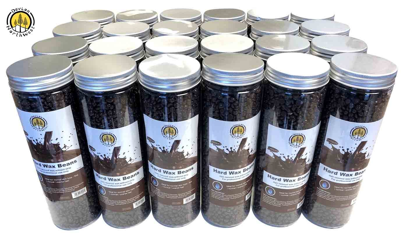 Depilatory Hard Wax Beans Hair Removal Pearl Beads Women and Men Self Waxing Chocolate Scent 400g/Jar 24 Pack