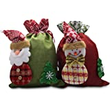 WAWJ クリスマスプレゼント 人気 ギフトバッグ キャンディークッキーバッグ ホリデーギフトバッグ サンタクロース雪だるまのアイデアギフト袋 テキスタイルギフトバッグ お菓子バッグ 誕生日プレゼント 巾着袋 【2個セット】
