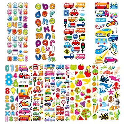Haipicho Puffy Stickers for Kids, 600+ 3D Funny Mobile Laptop Water Bottles Labels, Including Dinosaur, Animal, Car, Numbers and More: Kitchen & Dining